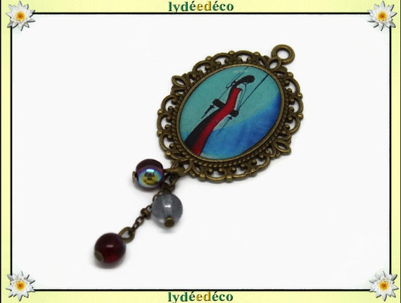 Women black blue red swing brooch charm retro vintage bronze lace Pearl resin