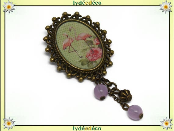 Brooch retro Flamingo Pink flamingo pastel green flower pendant bronze resin oval 18 x 25mm charms beads
