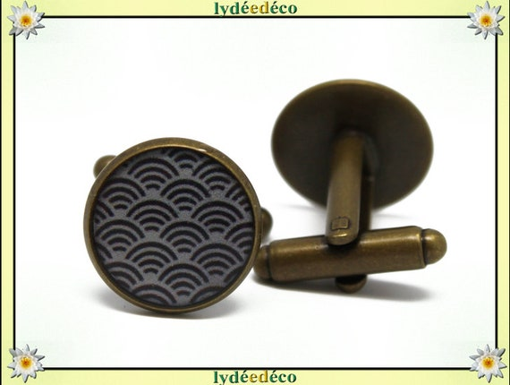 2 retro suit cuff links resin waves of the sea: seigaiha Japan black and white brass bronze 14mm