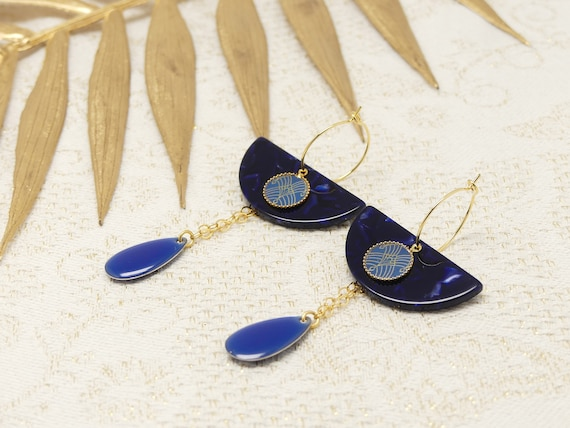 Mini Creoles ART DECO arabesque blue gold brass or late 24k resin gift gift birthday of the mother wedding Christmas