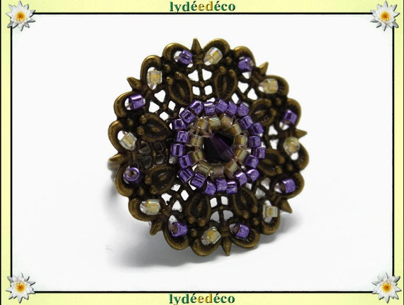 Japanese purple yellow glass 25mm bronze beads charm retro vintage adjustable flower ring