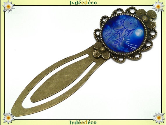 Bookmarks Dreamcatcher white blue moon resin Julie brass 20mm mother's day gift personalized birthday thank you