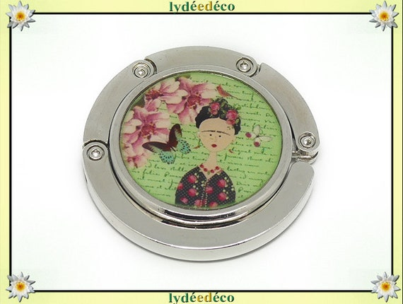 Hook bag retro Frida Kahlo butterfly green pink flowers resine metal silver party of mothers Christmas birthday gift