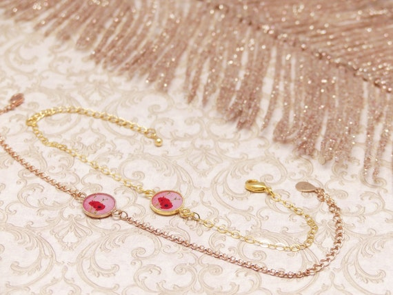 Bracelet COQUELICOT adjustable flower red pink or gold rose gold-filled wedding ceremony bride bridesmaid Mother's Day