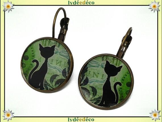 Retro Stud Earrings black white green steampunk clockwork resin brass cat bronze mother's day birthday Christmas gift
