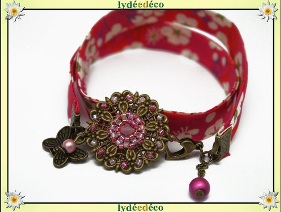 Retro spring print pink green liberty flower beads white Japanese Glass Butterfly brass bronze