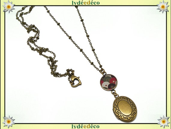 Retro vintage fan Japan red black white green resin and mother's day birthday Christmas gift Christmas brass photo necklace