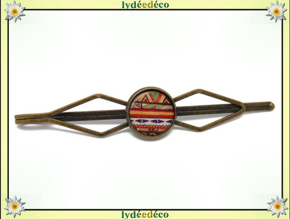 1 clip tie pin costume resin Brown green orange Africa brass bronze 12mm master thank you for father's day birthday gift
