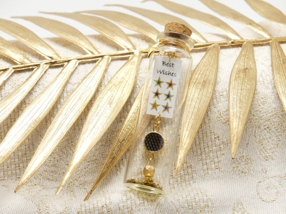 Bottle glass decoration case message Best wishes star multicolored resin gold new year best wishes