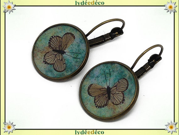 Sleeper earrings retro vintage green brown Butterfly resin brass Locket round 20mm mother's day birthday Christmas gift