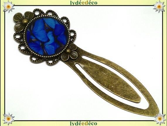 Marque-pages retro Papillon bleu gris noir resine laiton bronze 20mm fete des meres cadeau personnalisé anniversaire merci maitresse