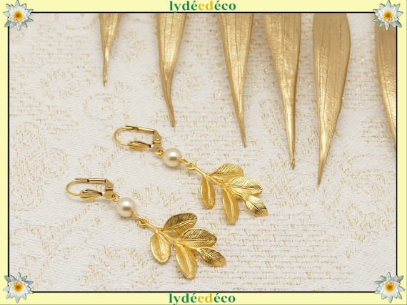LEAF satin gold leaf curls 16K brass or fine 24k swarovski gift resin birthday wedding Christmas