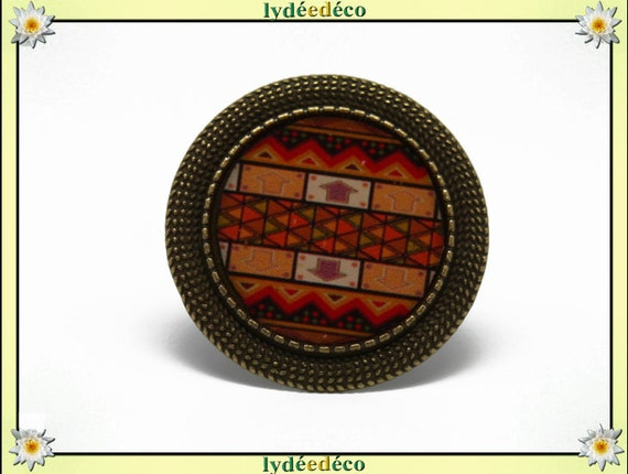 Round ring retro vintageAfrique brown black orange resin charm 20mm retro bronze adjustable brass