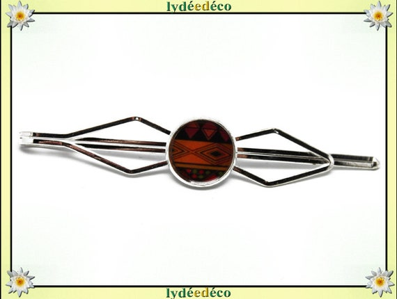 1 clip tie pin costume resin black brown orange Africa brass bronze 12mm master thank you for father's day birthday gift