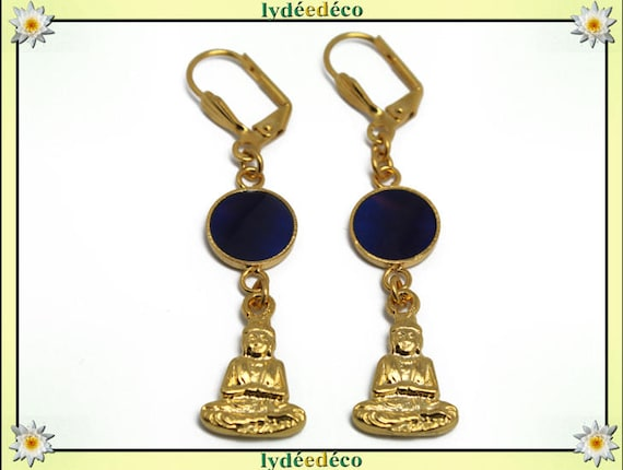Buddha earrings brass end 24 k Midnight Blue resin gift personalized gold anniversary mothers wedding thank you teacher