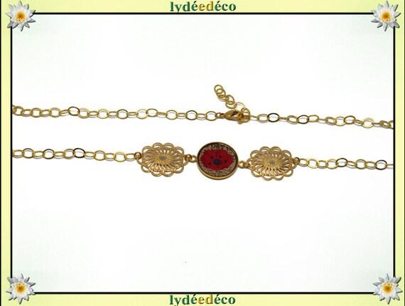 POPPY headband Golden brass gold 24 carat 24 k beige black red flower resin resin glass beads