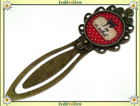Bookmarks Message Message I'm a rebel red polka dot black beige bow tie resin bronze brass 20 mm mothers birthday gift