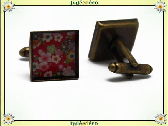 2 button cufflinks suit resin brass 16mm thank you for father's day green white red cherry blossom master birthday gift