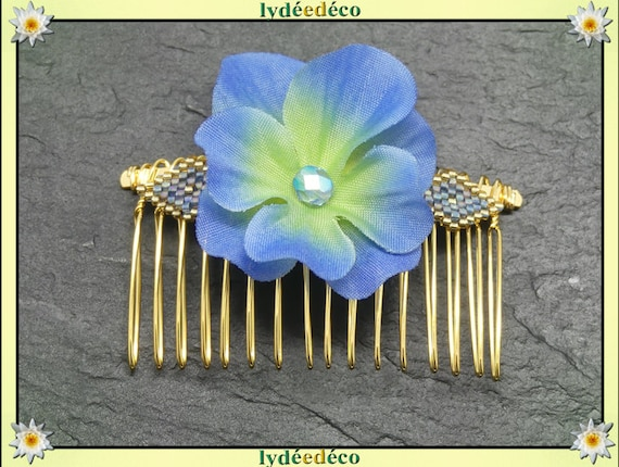 Vintage hair comb vintage wedding weaving beads blue iridescent gold Japan Fleur hydrangea bridesmaid witness couple welcome gift