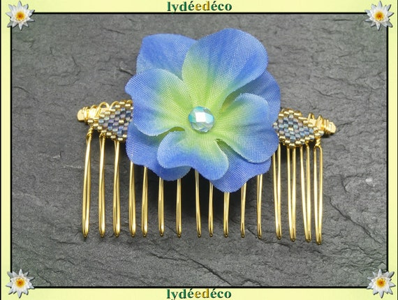 Vintage hair comb wedding weaving beads Japan blue Golden hydrangea guest gift bridesmaid jewelry bridal accessory couple Fleur