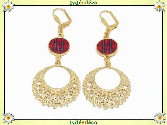 Earrings creoles sill sills stitch red tartan Outlander brass or 24k resin birthday gift party of mothers wedding Christmas