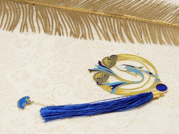 Brand pages KOI books resin pom-pom fish carp wave blue white golden mother's birthday gift