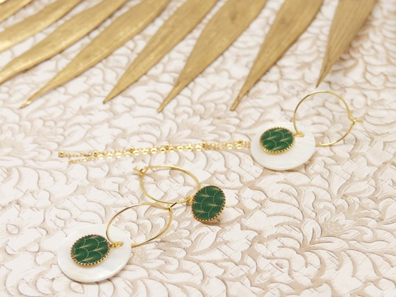 Mini Creoles EVENTAIL interchangeable mother-of-pearl chain Art Deco Japan green or brass or fine 24k resin ceremony wedding gift