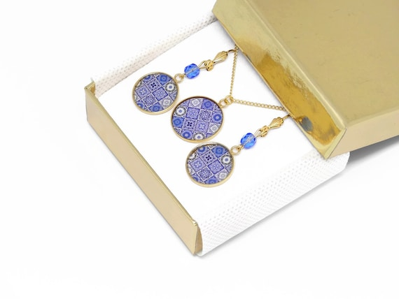 Set necklace earrings Azulejos brass gold 24 k gold filled 14K White, blue mother's day birthday Christmas gift
