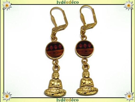 Brass Buddha earrings gold 24 k Africa black orange resin gift birthday mother's day wedding thank you teacher