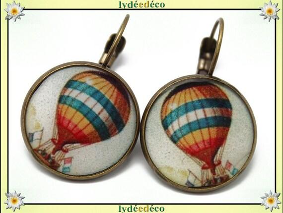 Earrings retro pattern orange white blue hot air balloon dream resin and brass bronze 2cm