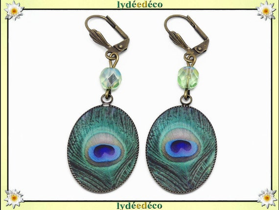 Earrings retro resin feather peacock blue green beige glass pearls bronze mother's day gift wedding anniversary