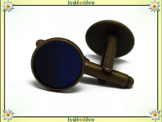 2 resin blue suit cuff links night Ultramarine brass bronze 14mm master thank you for father's day birthday gift