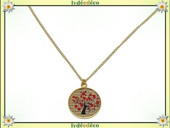 Tree poppy brass Choker necklace gold fine 24 k gold filled 14 k red black beige resin mother for mothers birthday Christmas gift