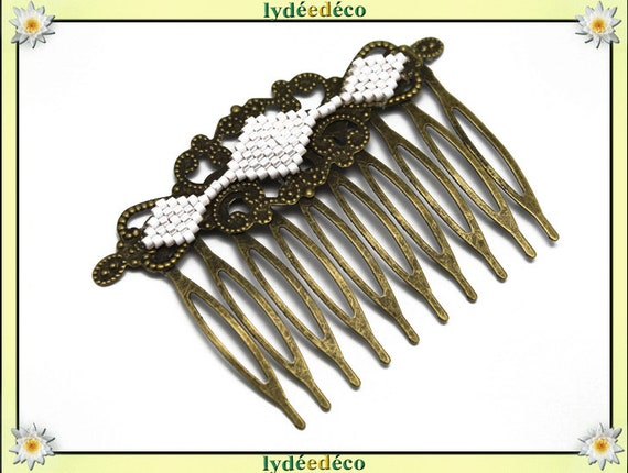 Hair comb vintage wedding white bronze glass beads