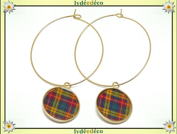 Tartan Outlander green orange brass hoop earrings gold 24 k flower resin gift birthday mother's day wedding thank you teacher