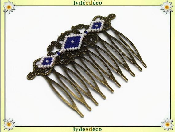 Vintage wedding hair comb Japanese brass bronze blue white glass beads