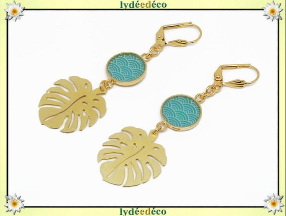 Wave earrings seigaiha Japan turquoise leaf white brass gold gold 24k resin birthday gift party of mothers wedding Christmas