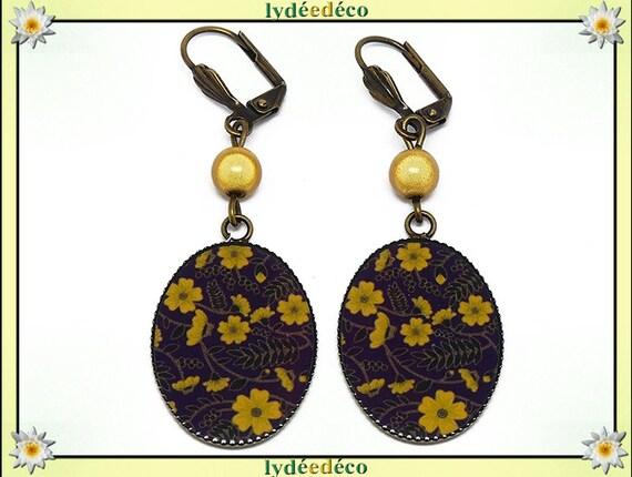 Retro earrings purple mustard yellow flower resin bronze beads 18 x 25mm mothers personalized anniversary gift