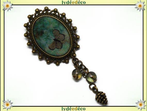 Broche rétro résine Papillon vert marron laiton bronze pendentif ovale 18 x 25mm perles breloques