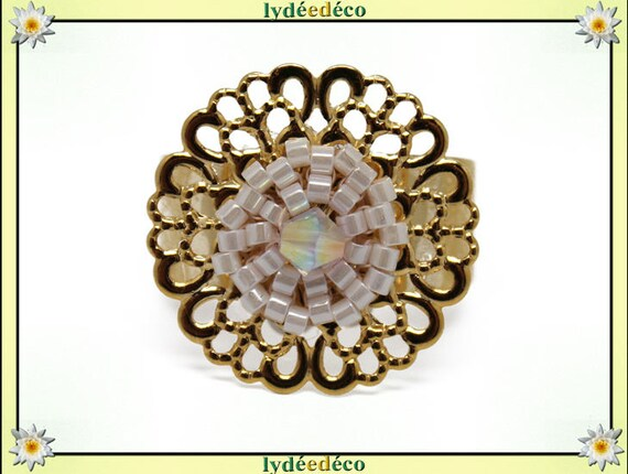SNOW print brass flower ring gold plated 24 carat 24 K woven beads Japanese iridescent white color 20mm adjustable