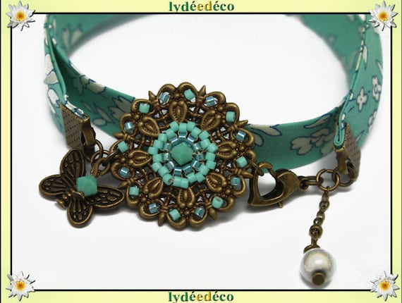 Bracelet liberty print retro turquoise and white flower beads glass Japanese bronze Butterfly