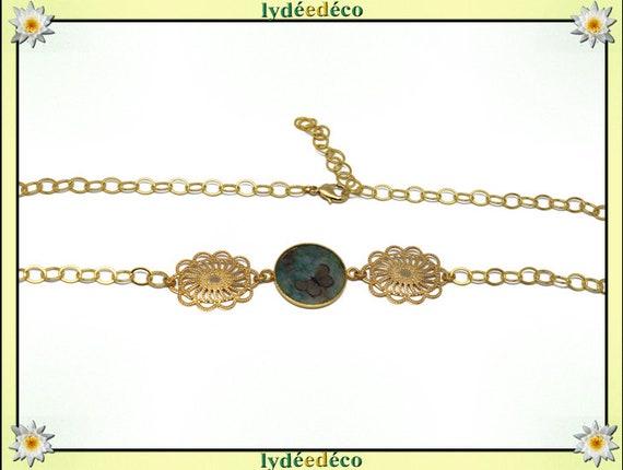 Butterfly headband Golden brass gold 24 carat 24 k flower green brown resin