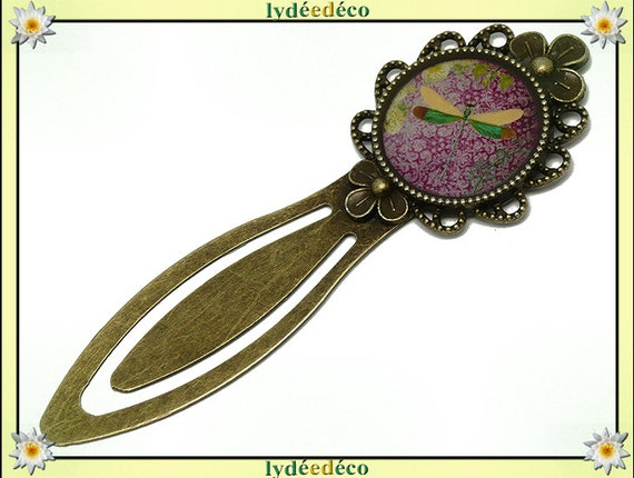Bookmarks resin Dragonfly flower Japan purple green yellow brass 20mm birthday mother's day book personalized thank you gift