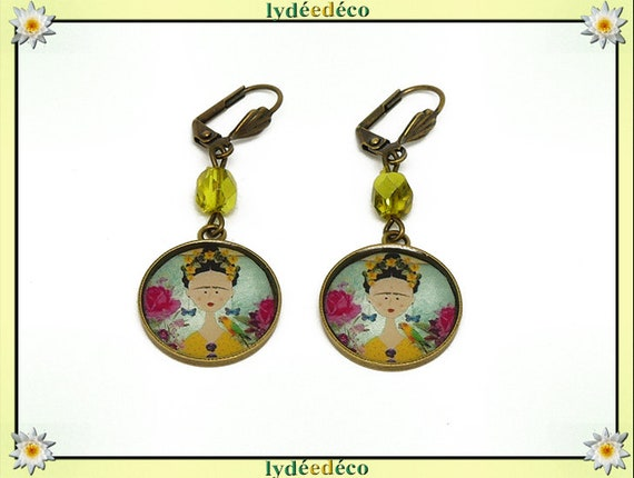 Earrings Frida Kahlo yellow flower butterfly pink blue blue black brass resin beaded party of mothers Christmas birthday gift