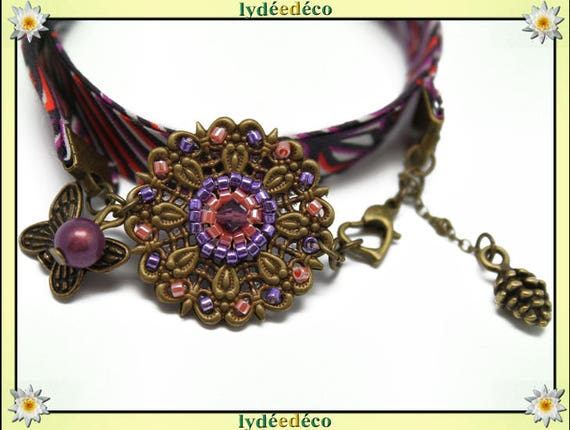Bracelet ethnic print flower 25mm liberty purple coral Africa black pearls Japanese Butterfly brass bronze