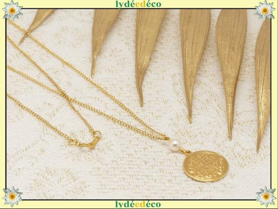TREFLE brass gold fine necklace 24k pearl swarovski resin gold-filled 14k birthday gift birthday wedding Christmas