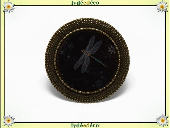 Round ring retro vintage black grey Dragonfly flowers resin adjustable brass diameter 20mm