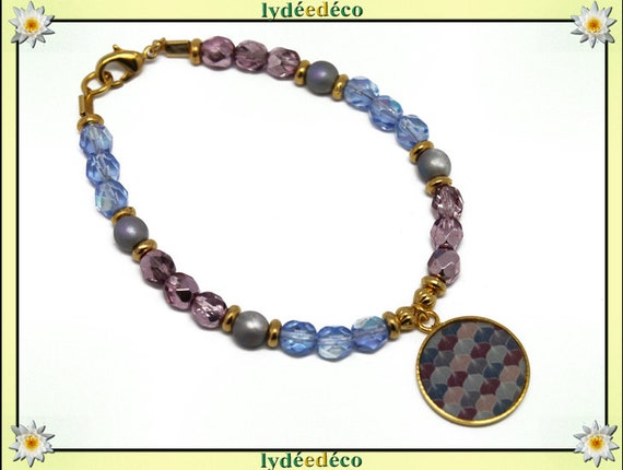 Bracelet resin brass gold 24 carat GINKO Japan pink purple blue gray gold faceted beads