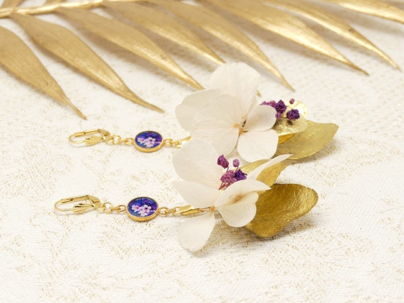 Buckles HORTENSE golden brass flower gypsophila resin jewel ceremony gift birthday party of the mothers wedding christmas