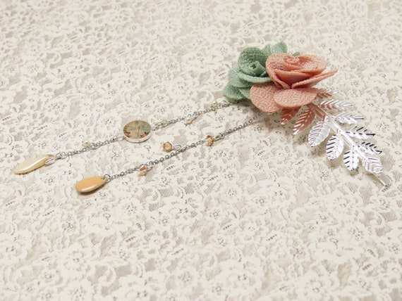 FLOWER hair accessory dragonfly leaves brass or pink flower pink pink pastel silver pearl resin wedding ceremony